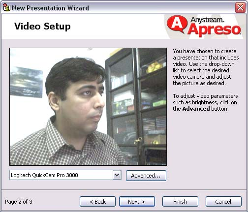 Video Setup in Apreso