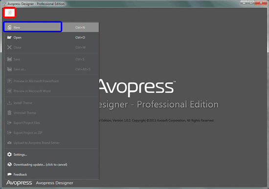 Avopress Designer interface with no file