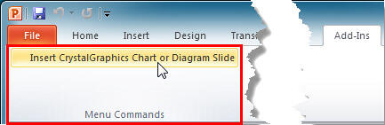 Menu Commands group within the Add-Ins tab