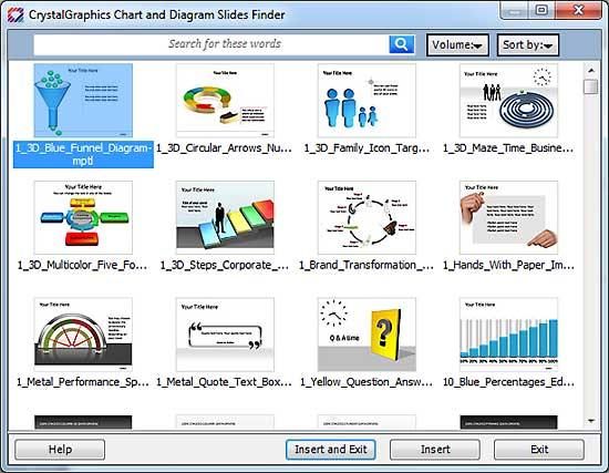 CrystalGraphics Chart and Diagram Slide Finder dialog box