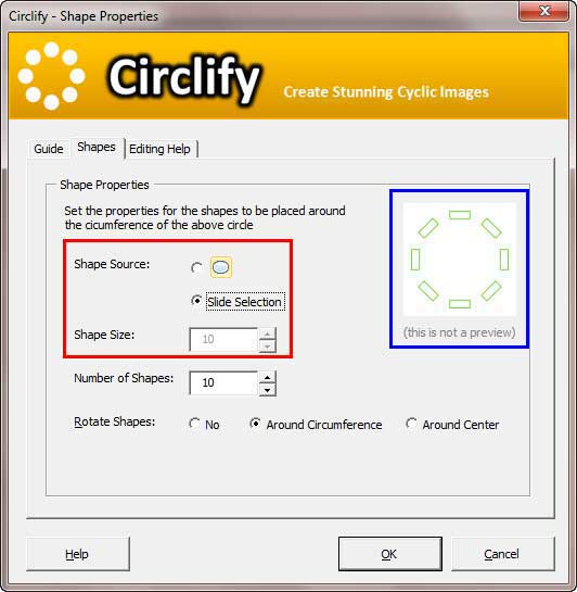Options within Shapes tab of Circlify interface