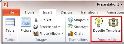 Doodleslide group within the Insert tab of the Ribbon