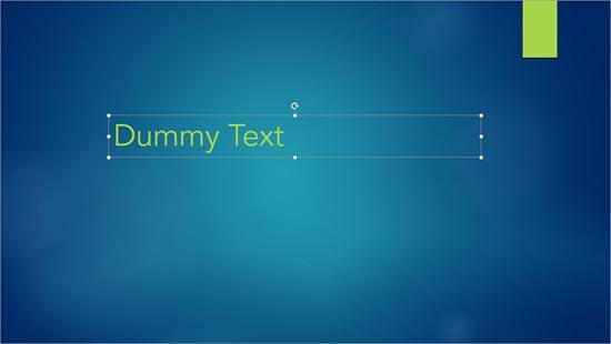 Dummy text typed within a text container