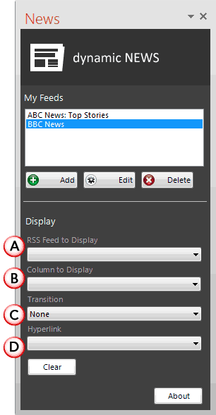 News feed is added within the News Task Pane