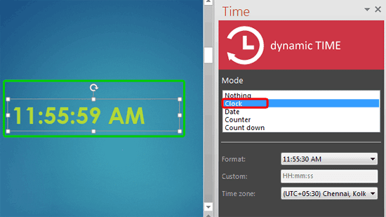 Clock mode selected