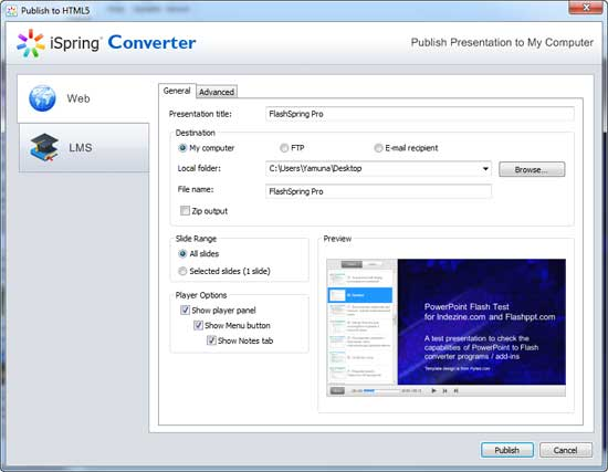 Publish to HTML5 dialog box