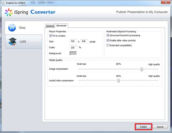 Advanced tab within the Publish to HTML5 dialog box