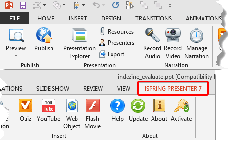 iSpring Presenter 7 tab of the Ribbon