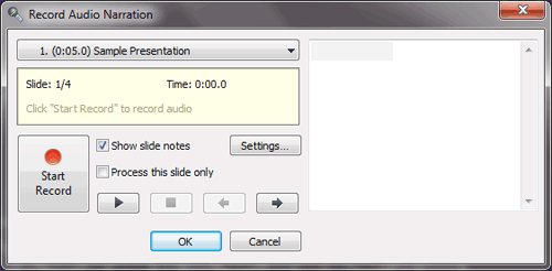 Record Audio Narration window