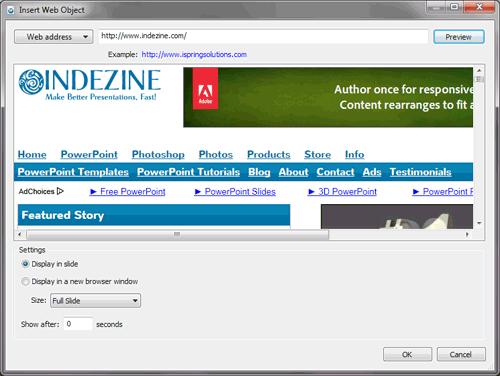 Insert Web Object window