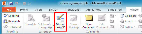 Global Lang ID button within the Review tab of the Ribbon