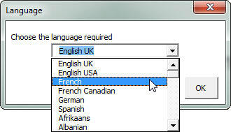 Drop-down list displaying all the languages available