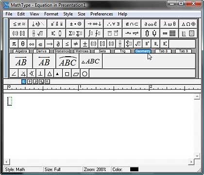 MathType 6 interface