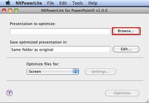 NXPowerLite for PowerPoint interface