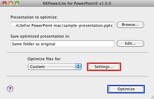 Custom Settings option