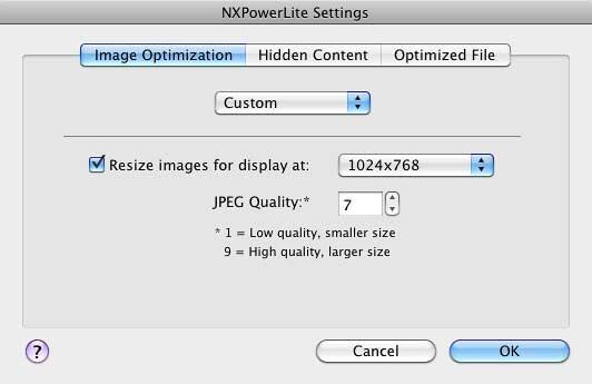 NXPowerLite Settings dialog box