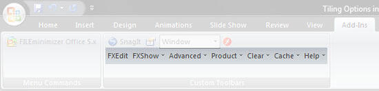 OfficeFX Presenter in the Add-Ins tab of the Ribbon in PowerPoint 2007