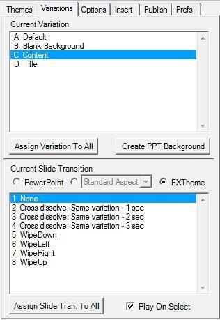 Variation tab