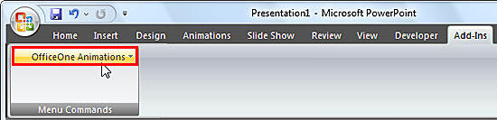 OfficeOne Animations button within Menu Commands group of Add-Ins tab of the Ribbon