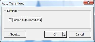 Auto Transitions dialog box