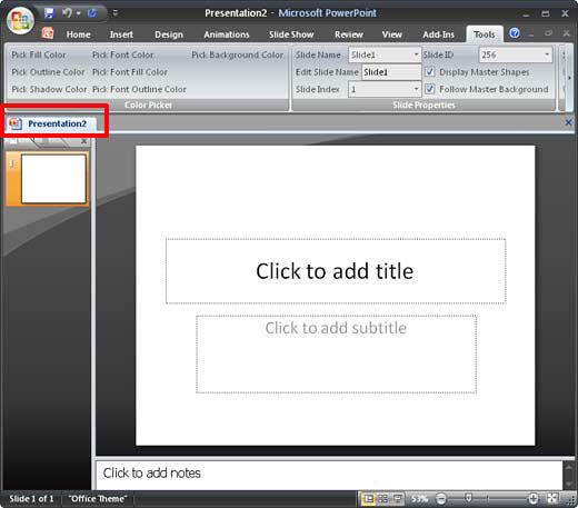 PowerPoint interface with tab