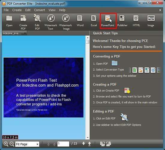 PowerPoint button within the PDF Converter Elite interface