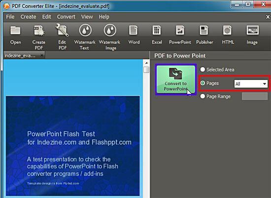 PDF to PowerPoint task pan within the PDF Converter Elite interface