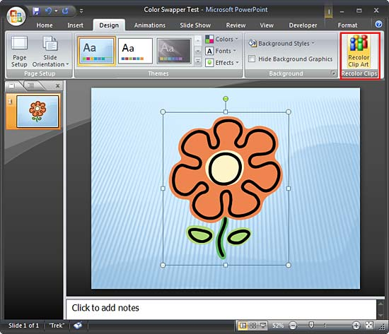 Picture of a flower placed on the slide