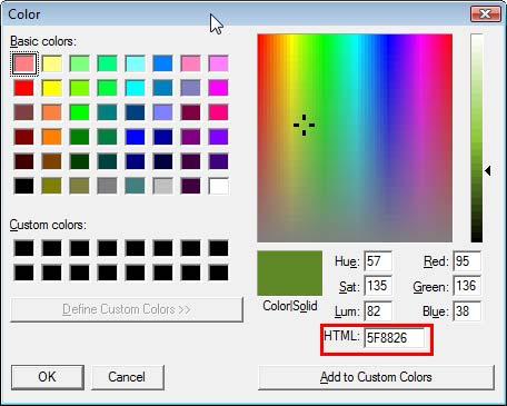 Pixie's Color dialog box
