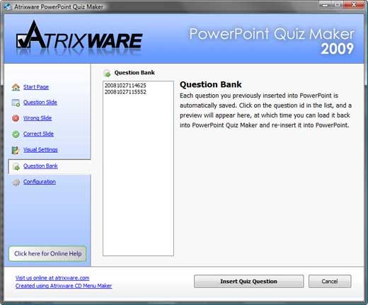 Question bank tab