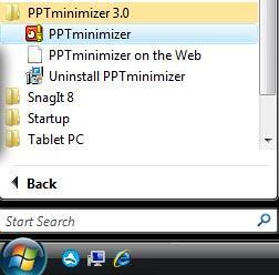 The PPTminimizer Start Menu Group