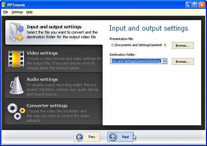 PPTmovie interface