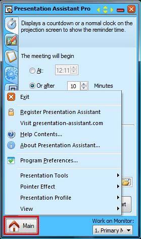 Select Exit option to suspend Presentation Assistant Pro