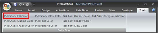 Color Picker group within Tools tab of the Ribbon