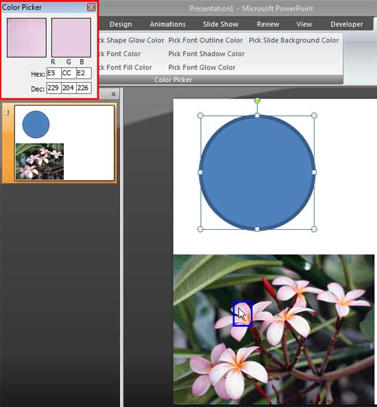 Color Picker window displays the color beneath the cursors location