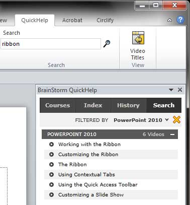 List of videos displayed within the BrainStrom QuickHelp task pane based on search criteria