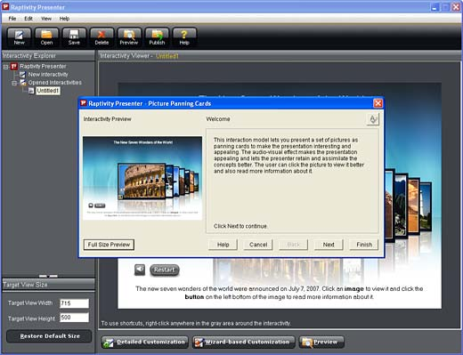 Raptivity Presenter interface