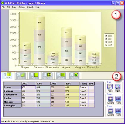 Rich Chart Builder Interface with Data