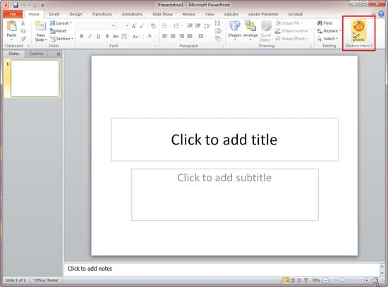Ribbon Hero 2 group within PowerPoint 2010