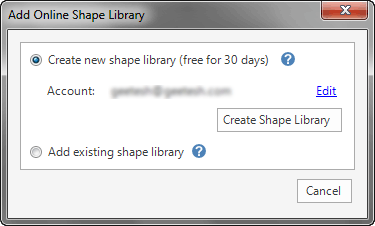 Create new shape library option within the Add Online Shape Library dialog box