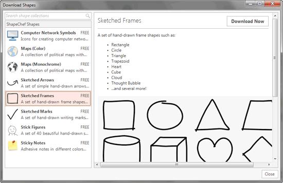 Download Shapes dialog box
