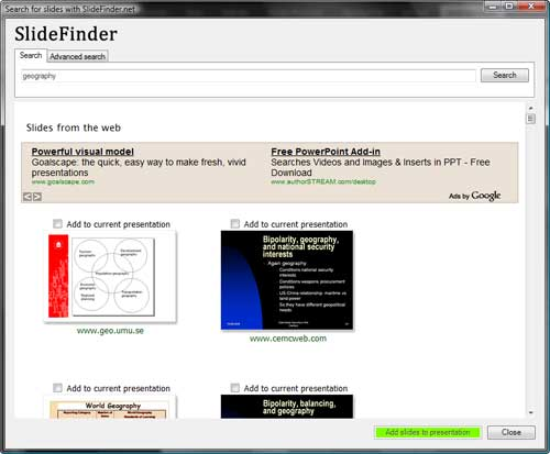 Search for slides with SlideFinder.net