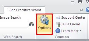 Options button within the Slide Executive xPoint tab