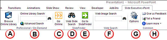 Options within the Slide Executive xPoint tab