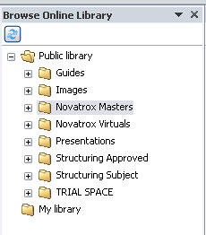 Browse Online Library task pane