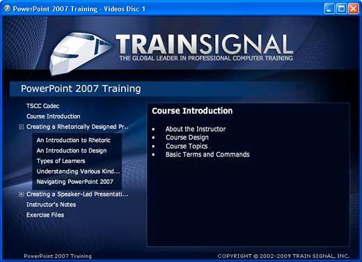PowerPoint 2007 Training interface