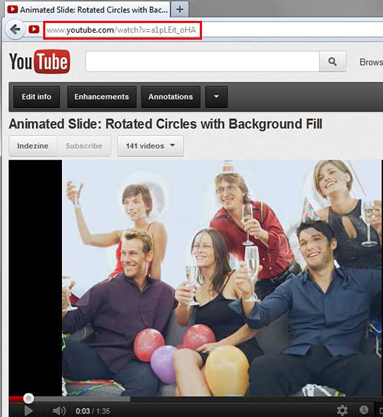 Copy the URL of required YouTube video