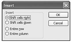 Determine the direction to move the existing cells in the Insert dialog box