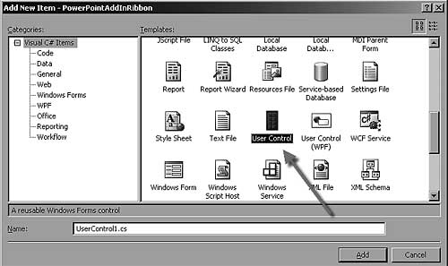 Select the User Control