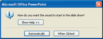 PowerPoint will add a sound Icon button to your slide
